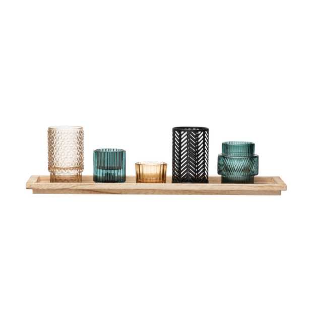 Embossed Glass & Metal Tealight/Votive Holders on Rectangle Wood Tray (Set of 6 Pieces) - Moss & Wilder