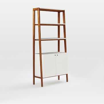 Modern Wall Cabinet Bookcase:, Pecan/White - West Elm