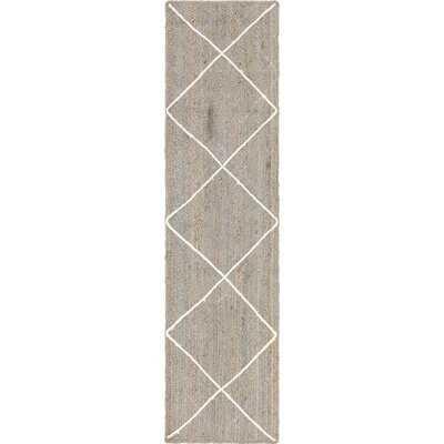 Alonza Geometric Hand-Made Braided Jute Gray Area Rug - Wayfair