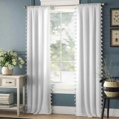 Bartholomew 100% Cotton Solid Color Semi-Sheer Rod Pocket Single Curtain Panel - Birch Lane