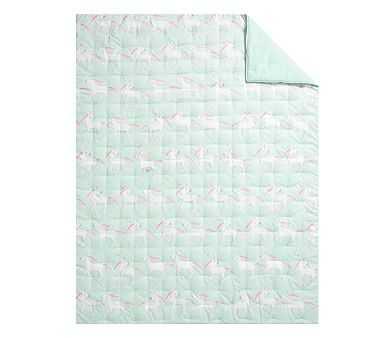 Molly Unicorn Dream Puff Comforter, Twin, Aqua Multi - Pottery Barn Kids