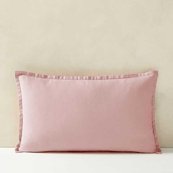 """European Flax Linen Lumbar Pillow Cover, Adobe Rose, 12""""x21"""" - West Elm"""