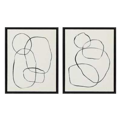 "Kate and Laurel Sylvie ""Modern Circles"" by Teju Reval Framed Canvas Wall Art Set, Black - Home Depot"