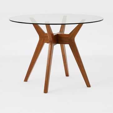 Jensen Round Table, Glass/Walnut - West Elm