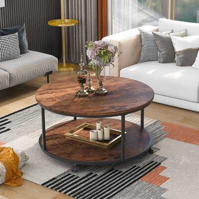 """On-Trend Round Coffee Table With Caster Wheels And Wood Textured Surface For Living Room, 35.5(Brown)"""" - Wayfair"""