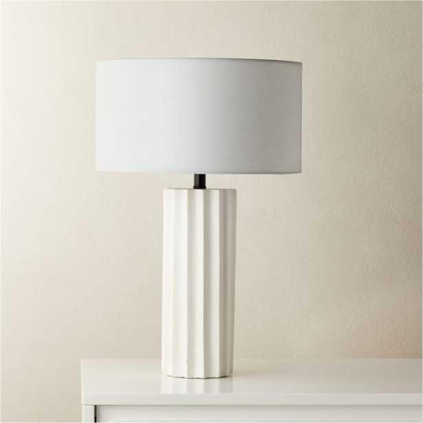 Scallop White Concrete Table Lamp RESTOCK IN MID JUNE 2021. - CB2