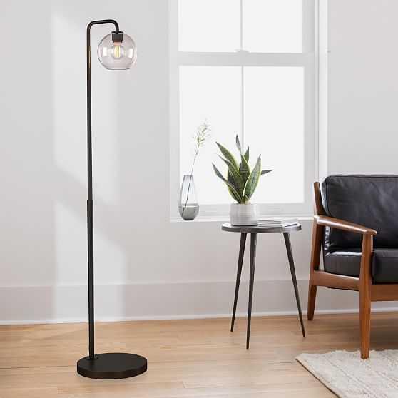 Sculptural Floor Lamp, Globe Mini, Clear, Antique Bronze - West Elm