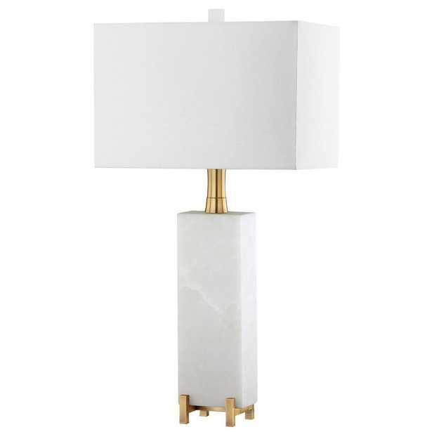 Safavieh Sloane Alabaster 30 in. White/Brass Gold Table Lamp - Home Depot