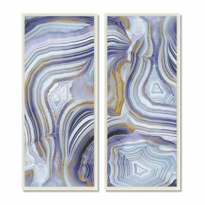'Agate Crystal Pattern Gold Purple Abstract' by Danielle Carson - 2 Piece Painting Print Set - Wayfair