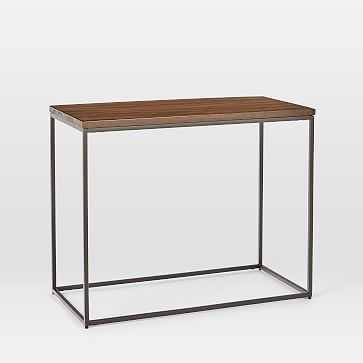 Streamline Side Table, Dark Walnut, Antique Bronze - West Elm