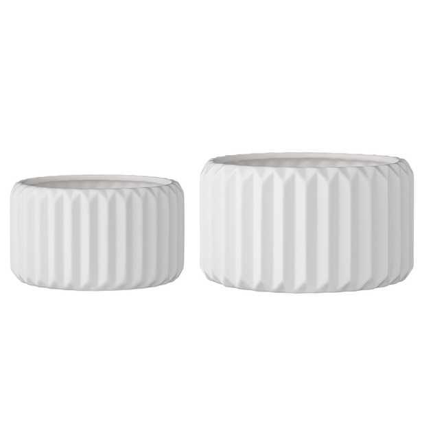 Set of 2 Round White Fluted Stoneware Flower Pots - Moss & Wilder