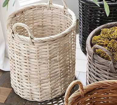 Aubrey Woven Tote Basket, Whitewash - Pottery Barn