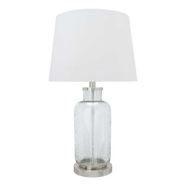 Aspen Creative Corporation 26 in. Clear Seedy Glass Table Lamp with Hardback Empire Shaped Lamp Shade in White - Home Depot