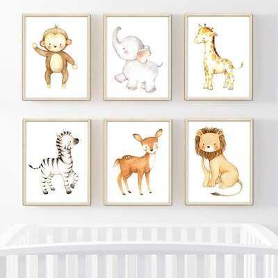 Dedakia Burlap, Lion, Zebra, Giraffe, Deer, Elephant, Monkey 6-Piece Set Paper Print - Wayfair