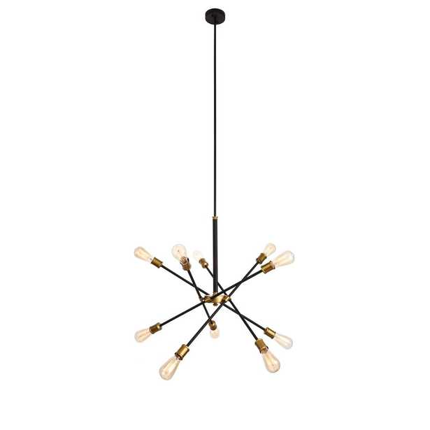 ELEGANT FURNITURE & LIGH Timeless Home Aria 27.2 in. W x 32.5 in. H 10-Light Black and Brass Pendant - Home Depot