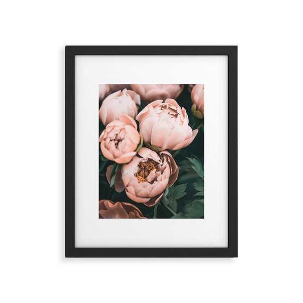 "Pastel Peony by Sisi and Seb - Modern Framed Art Print Black 18"" x 24"" - Wander Print Co."