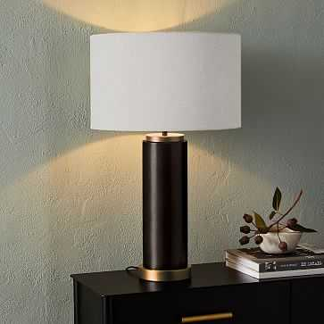 Pillar Table Lamp USB, White Linen, Antique Bronze, Individual - West Elm