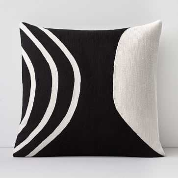 """Crewel Rounded Pillow Cover, Black, 20""""x20"""" - West Elm"""