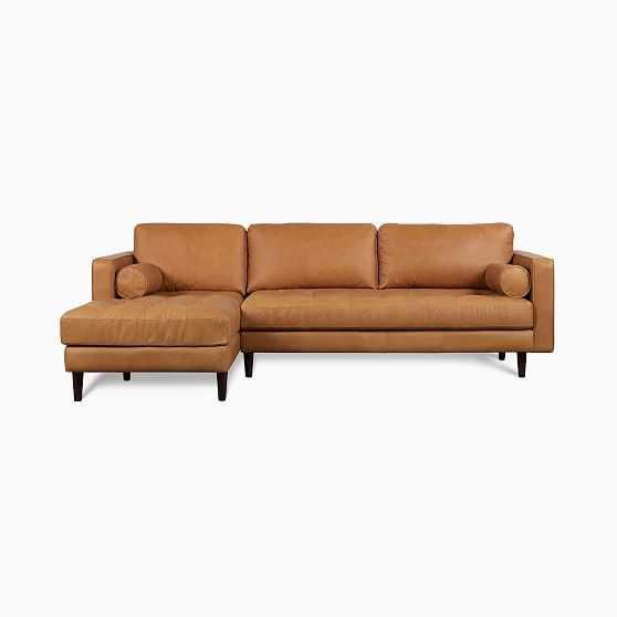 Dennes Sectional Set 02: Ra Sofa, La Chaise,Tan,Charme Leather,Walnut - West Elm