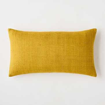 "Silk Hand-Loomed Pillow Cover, 12""x21"", Dark Horseradish - West Elm"