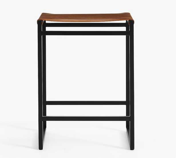 Hardy Backless Leather Counter Stool, Bronze/Saddle Tan Leather - Pottery Barn