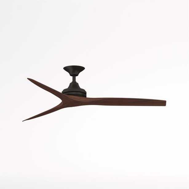 "Fanimation Spitfire 60"" Dark Bronze/Whiskey Wood Indoor/Outdoor Ceiling Fan - Crate and Barrel"