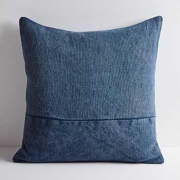 "Cotton Canvas Pillow Cover 24""x24"", Midnight - West Elm"