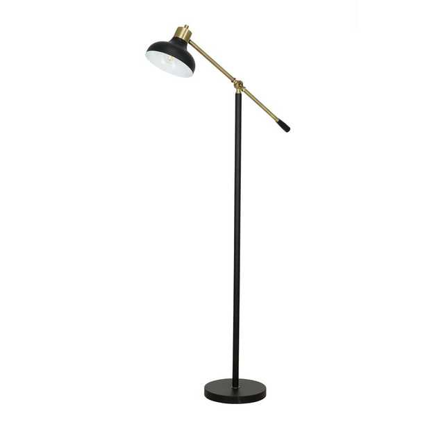 Cresswell 59.125 in. Matte Black and Gold Accents Mid-century Modern Floor Lamp - Home Depot