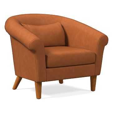 Parlour Chair, Poly, Vegan Leather, Saddle, Pecan - West Elm