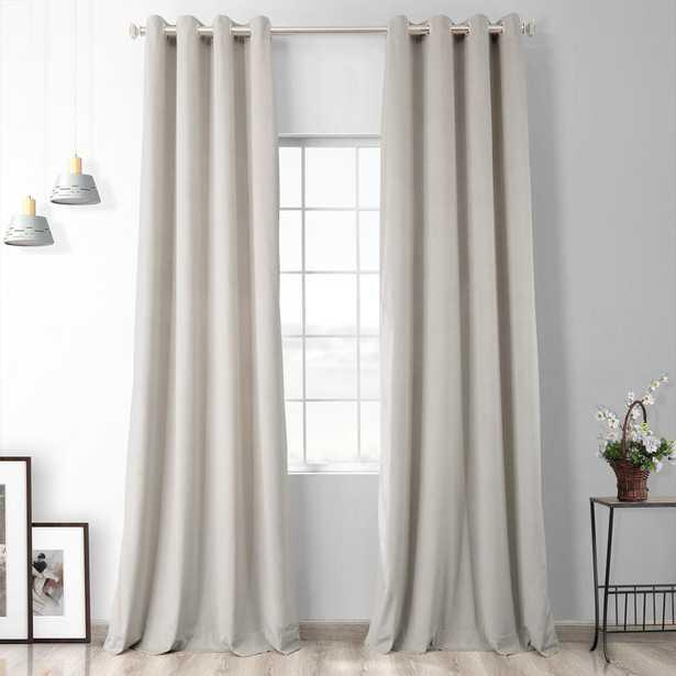 Exclusive Fabrics & Furnishings Vanilla Ivory Heritage Plush Velvet Grommet Blackout Curtain - 50 in. W x 108 in. L (1 Panel), Vanilla Beige - Home Depot