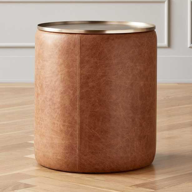 Stitch Leather Round Storage Side Table - CB2