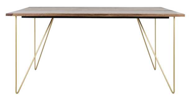 Captain Hairpin Legs Wood Dining Table, Walnut & Brass - Arlo Home