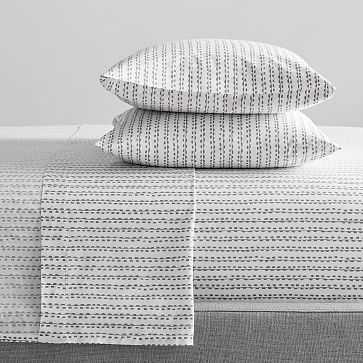 Organic Hand Drawn Stripe Sheet Set, King, Feather Gray - West Elm