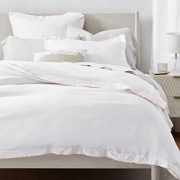 Belgian Linen Merrow Edge Duvet, Full/Queen, White + Misty Rose - West Elm