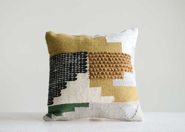 Handwoven White Wool Kilim Pillow with Yellow, Green & Black Accents - Nomad Home
