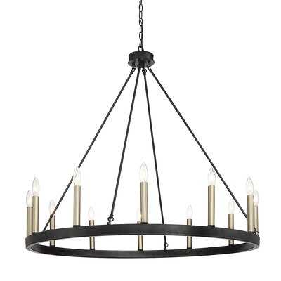 Clairan 12 - Light Candle Style Wagon Wheel Chandelier with Wood Accents - Wayfair