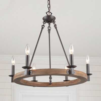 Sabio 5 - Light Candle Style Wagon Wheel Chandelier with Wood Accents - Wayfair