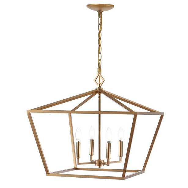 "JONATHAN Y Gatsby 23"" 4-Light Adjustable Iron Rustic Glam LED Pendant, Gold - Home Depot"