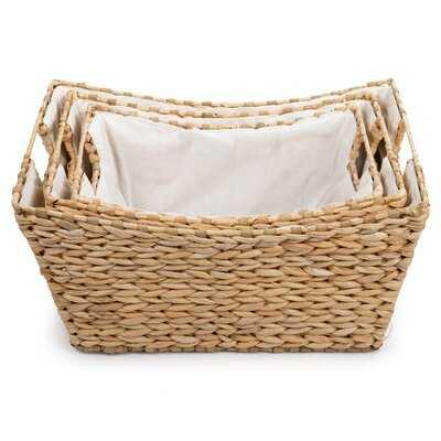 Beautiful Look Natural Braided 3 Piece Wicker Basket Set - Wayfair