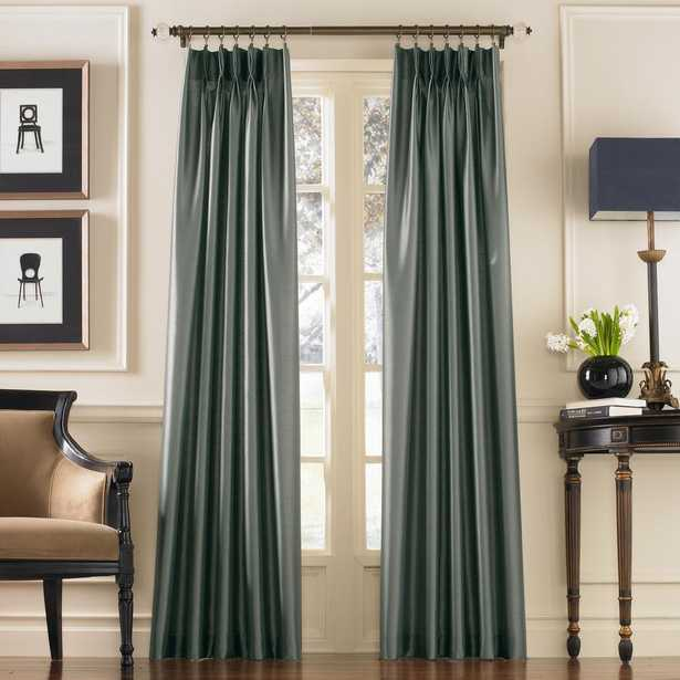 Curtainworks Marquee Teal Light Filtering Pinch Pleat/Back Tab Lined Curtain Panel - 30 in. W x 144 in. L, Blue - Home Depot