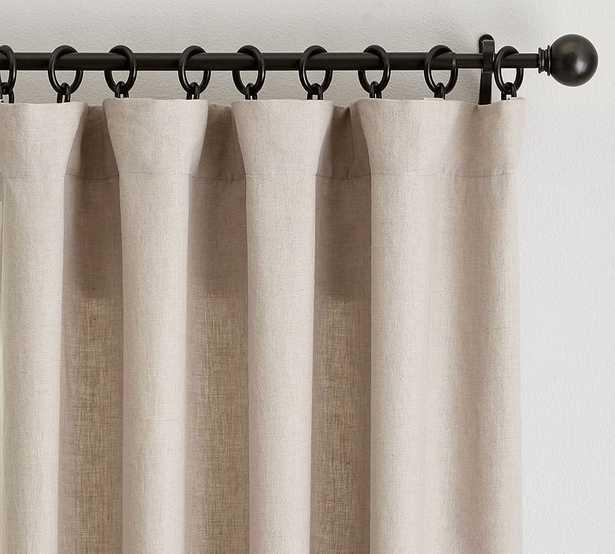 "Custom Classic Belgian Flax Linen Rod Pocket Blackout Curtain, Dark Flax, 48 x 92"" - Pottery Barn"