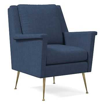 Carlo Midcentury Chair, Performance Yarn Dyed Linen Weave, French Blue, Brass - West Elm