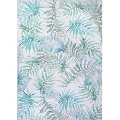 Lorelai Floral Cotton Green/Blue Indoor / Outdoor Area Rug - Wayfair