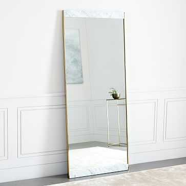 Marble & Brass Floor Mirror, White - West Elm