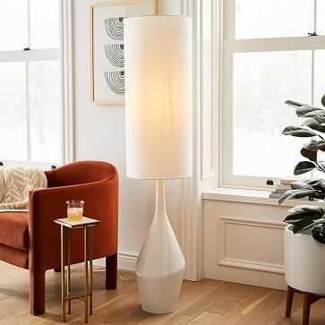 Asymmetric Floor Lamp, White, White Linen - West Elm
