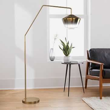 """Sculptural Overarching Floor Lamp, Geo Large, Gold Ombre, Antique Brass, 10"""" - West Elm"""