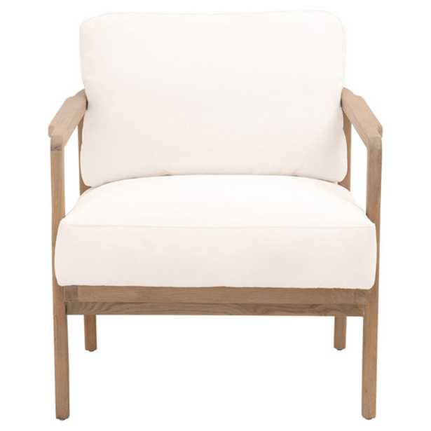 Lewis Modern Classic White Performance Upholstered Oak Wood Club Chair - Kathy Kuo Home