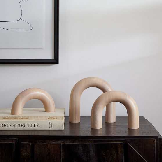 Wood Arch Object, Natural, Set of 3 - West Elm