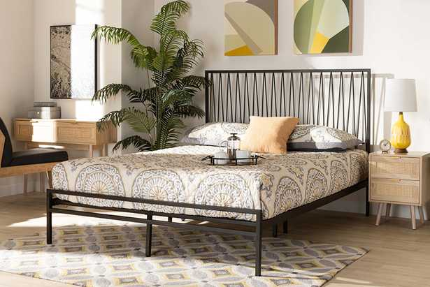 Baxton Studio Jeanette Modern and Contemporary Black Finished Metal Queen Size Platform Bed - Lark Interiors
