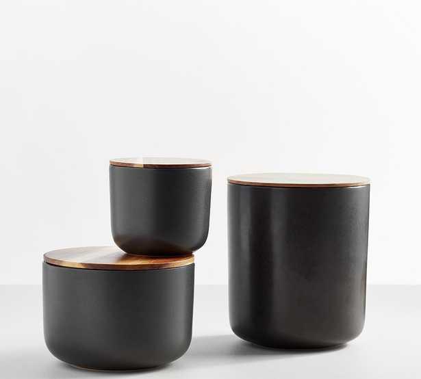 Mason Stoneware Canisters, Set of 3 (Small, Medium & Large) - Charcoal - Pottery Barn